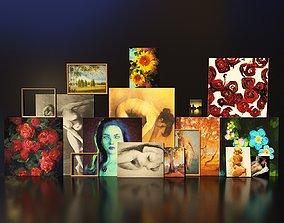 Artist Studio Paintings Set 190 01 3D