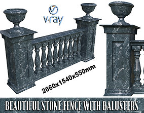 3D Marble fence balasins and columns