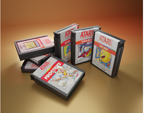 Cartuchos Atari - 3D low-poly