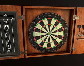 3D model Game Ready Dartboard with Cabinet
