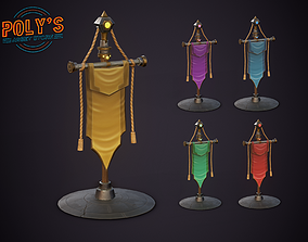 3D asset War Banner Flag Pack- Stylized Low Poly