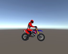 Low Poly Dirt Bike With Rider-2 3D asset