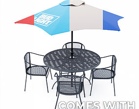 Outdoor table with four chairs 3D model budlight