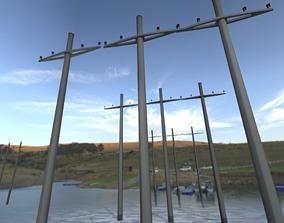 3D model Concrete Electricity Pole without Ladder - 2