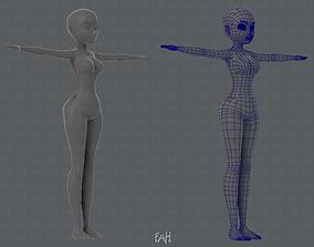 Base mesh woman character 3D asset