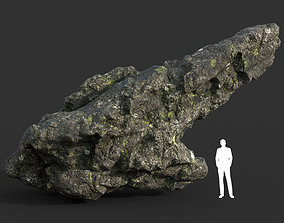 Low poly Damaged Lichen Rock 17 190907 3D model