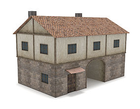 3D asset Medieval Gate House
