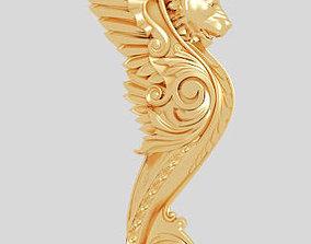 3D Classic stair pillar model luxurious gold sculpture