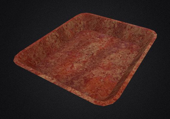 bloody foam meat light yellow tray