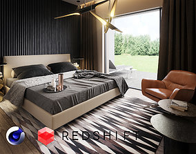 Bedroom Interior Scene for Cinema 4D and Redshift 3D model