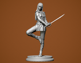 Girl with a sword 3D print model