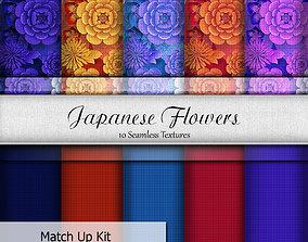 Japanese Flowers Seamless Textures Set 3D