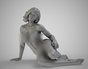 3D printable model Young Woman Sitting on Ground