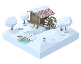 Watermill isometric landscape winter village low 3D asset