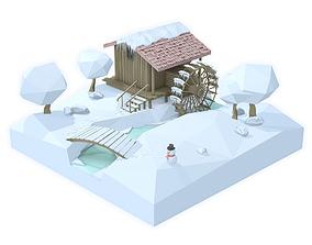 Watermill isometric landscape winter village low 3D asset