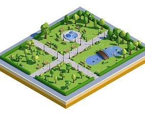 3D model bench Low Poly Park