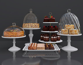 3D Dessert Peanut cake and Honey cake