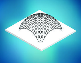 3D model Dome octagonal pattern wire frame structure