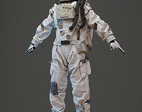 Spacesuit astronaut character with head and hair 3D