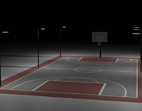 3D asset VR / AR ready Basketball Court