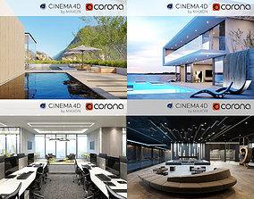 Set 4 - Corona C4D Scene files 3D