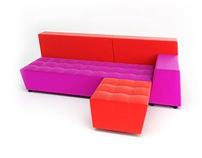 Sofa Red Pink 3D