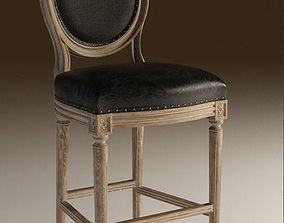 Louis round high bar stool 3D print model