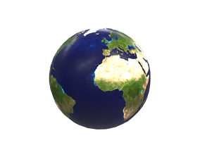 sphere Earth 3D asset low-poly