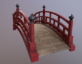 Japanese red bridge 3D model