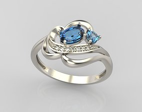 3D print model Design ring with sapphires and diamonds