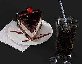 3D model Lemonade and cake