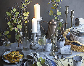 3D model Table setting with brunches and berries
