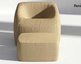3D model Fabric Armchair with Ottoman armchair