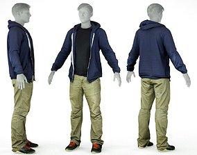 Male Casual Outfit 17 Hoodie Pants Footwear 3D model