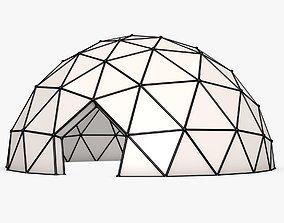futuristic 3D model Half-Sphere Geodesic Dome