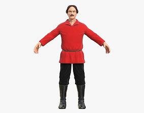 Worker in a Red Shirt 3D asset