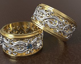 engajment WEDDING RINGS WITH ORNAMENTS 3D print model