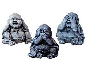 Three Buddha Statues I dont see I dont hear I wont 3D