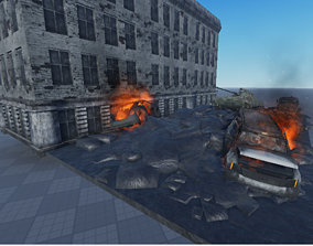 Destroyed Car 3D asset animated military
