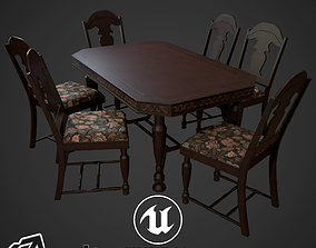 3D model game-ready Antique Table and Chairs