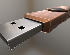 3D asset USB Stick Low Poly Copper Version - Gameready - 1