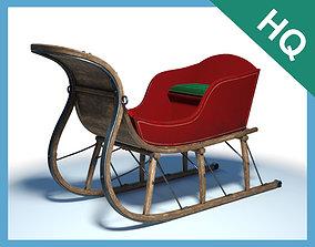 3D Santa Claus Wooden Sleigh