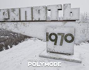3D asset PBR Pripyat City Sign Game-ready