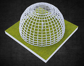 3D asset Dome structure rectangular panels geodesic style