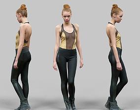 3D model Girl in Golden Swimsuit Shiny Legging and Boots