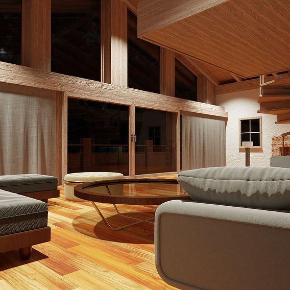 Wooden Villa Relaxed Night