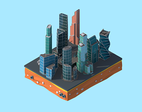 Cartoon Low Poly Moscow City 3D asset