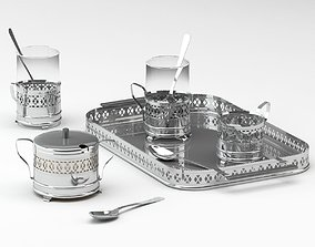 3D Luxurious Silver Tableware