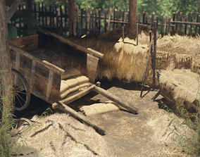 3D model Hay and Haystack Props - PBR and Game