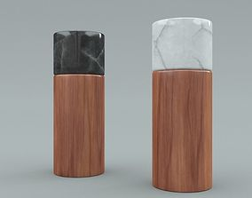 Salt and Pepper Wooden Marble Shaker 3D asset low-poly